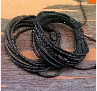Classic Wrap Leather Bracelets Bangles Black and Brown Braided Rope Fashion Jewelry for Men and Women-1
