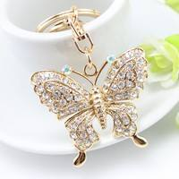 FhS2-Exquisite Fashion Rhinestone Butterfly Keychain