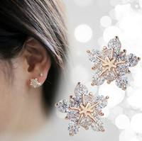 FhUx-Ladies Cute Snow Snowflake Crystal Stud Earrings Jewelry