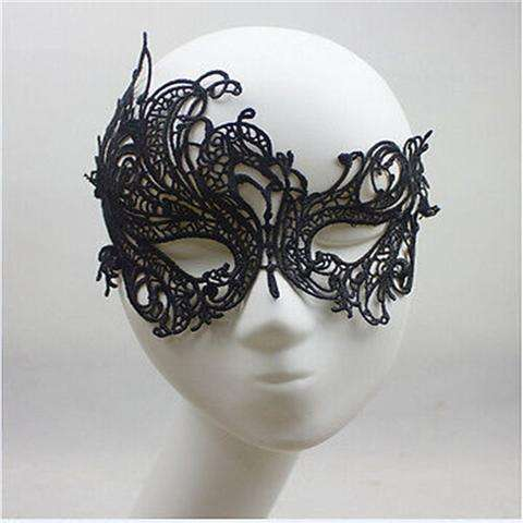 Sexy Lace Eye Mask Venetian Masquerade Halloween Ball Party Fancy Dress Costume (Color: Black)-2
