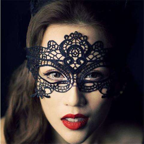 Sexy Lace Eye Mask Venetian Masquerade Halloween Ball Party Fancy Dress Costume (Color: Black)-21