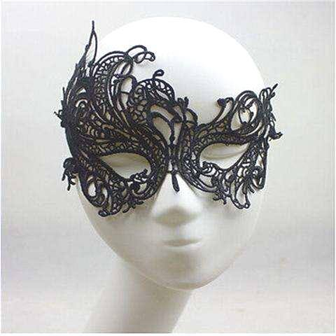Sexy Lace Eye Mask Venetian Masquerade Halloween Ball Party Fancy Dress Costume (Color: Black)-3