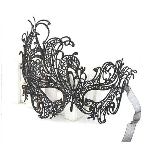 Sexy Lace Eye Mask Venetian Masquerade Halloween Ball Party Fancy Dress Costume (Color: Black)-5
