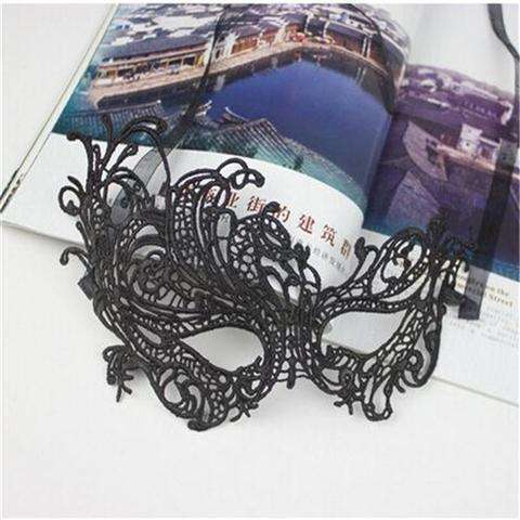 Sexy Lace Eye Mask Venetian Masquerade Halloween Ball Party Fancy Dress Costume (Color: Black)-7