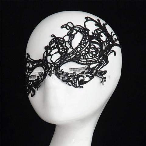 Sexy Lace Eye Mask Venetian Masquerade Halloween Ball Party Fancy Dress Costume (Color: Black)-8