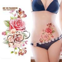 FmfB-Rose Flowers Fake Temporary Tattoos Stickers Waterproof Tattoos