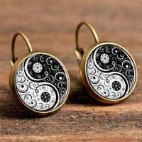 FoA0-1 Pair Women Tai Chi Black White Retro Glass Patch Earrings Ear Hook Jewelry