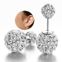 Fojp-Fashion Women 925 Sterling Silver Double Crystal Ball Ear Stud Earrings Jewelry