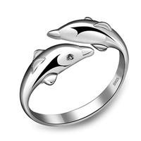 Fqae-Fashion 925 Sterling Silver Double Dolphin Opening Adjustable Rings