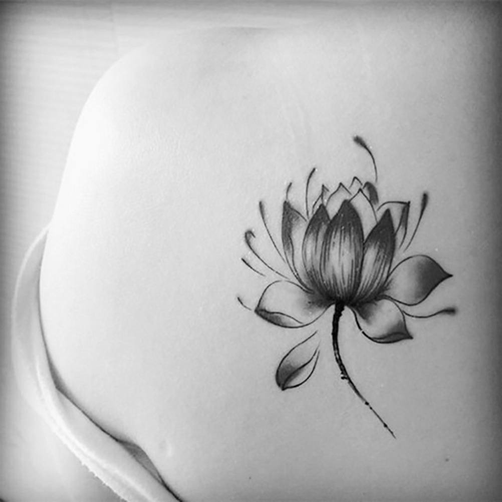 Charm Black Waterproof Lotus Flower Tattoo Stickers Floral Temporary Body Art More Cost-effective