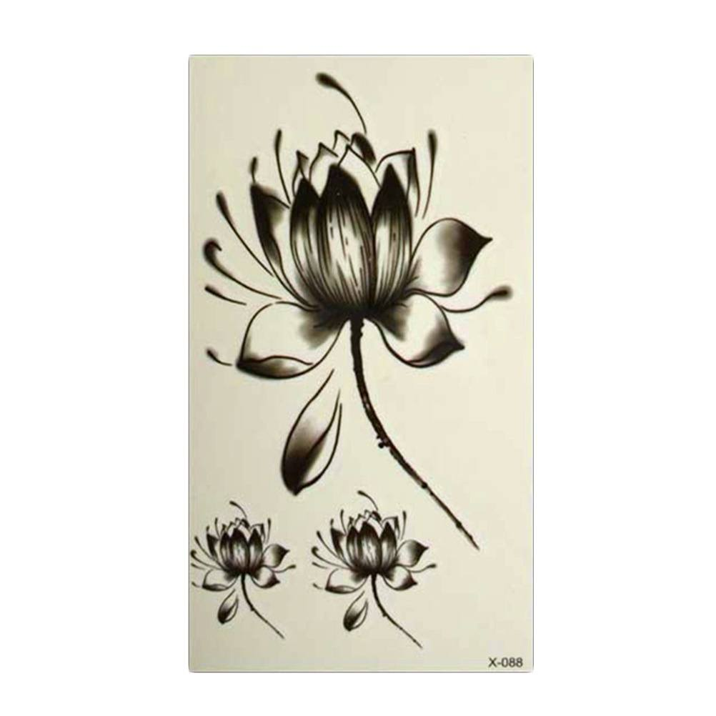 Charm Black Waterproof Lotus Flower Tattoo Stickers Floral Temporary Body Art More Cost-effective-1