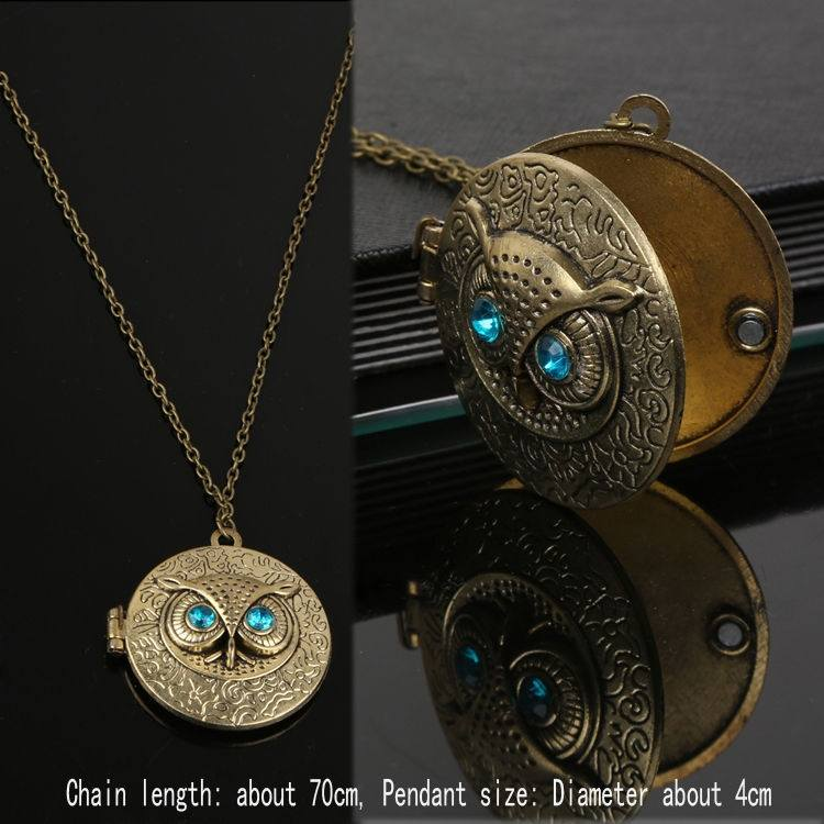 Retro Owl Carving Patterns Can Be Opened Box Long Sweater Chain Necklace-1