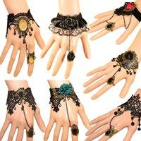 Ftt4-Retro Vintage Lady Handmade Jewellery Gothic Lace Flower Finger Ring Bracelet