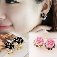 FuVD-Elegant Lady Accessories Flower Rose Crystal Rhinestone Ear Stud Earring Jewelry