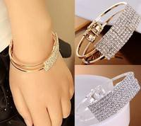 Fvdi-Fashion Elegant Women Gold Silver Rhinestone Bangle Wristband Bracelet Crystal Cuff Bling Lady Gift