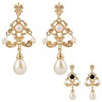 Fw51-Women Exquisite Royal Faux Pearls Golden Tone Ear Drops Dangle Ear Studs Earrings