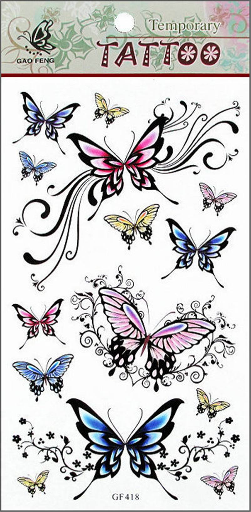 Fashion Removable Waterproof Temporary Tattoo Butterfly Tattoos Fake Sexy Body Art Sticker-1