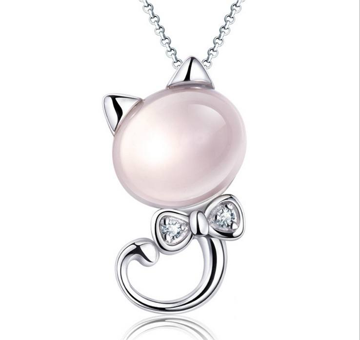 925 Silver Necklace Kitten Powder Crystal Pendant Female