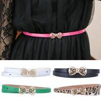 Fygy-Women's Lady PU Leather Skinny Thin Narrow Bowknot Waist Belt Waistband Strap