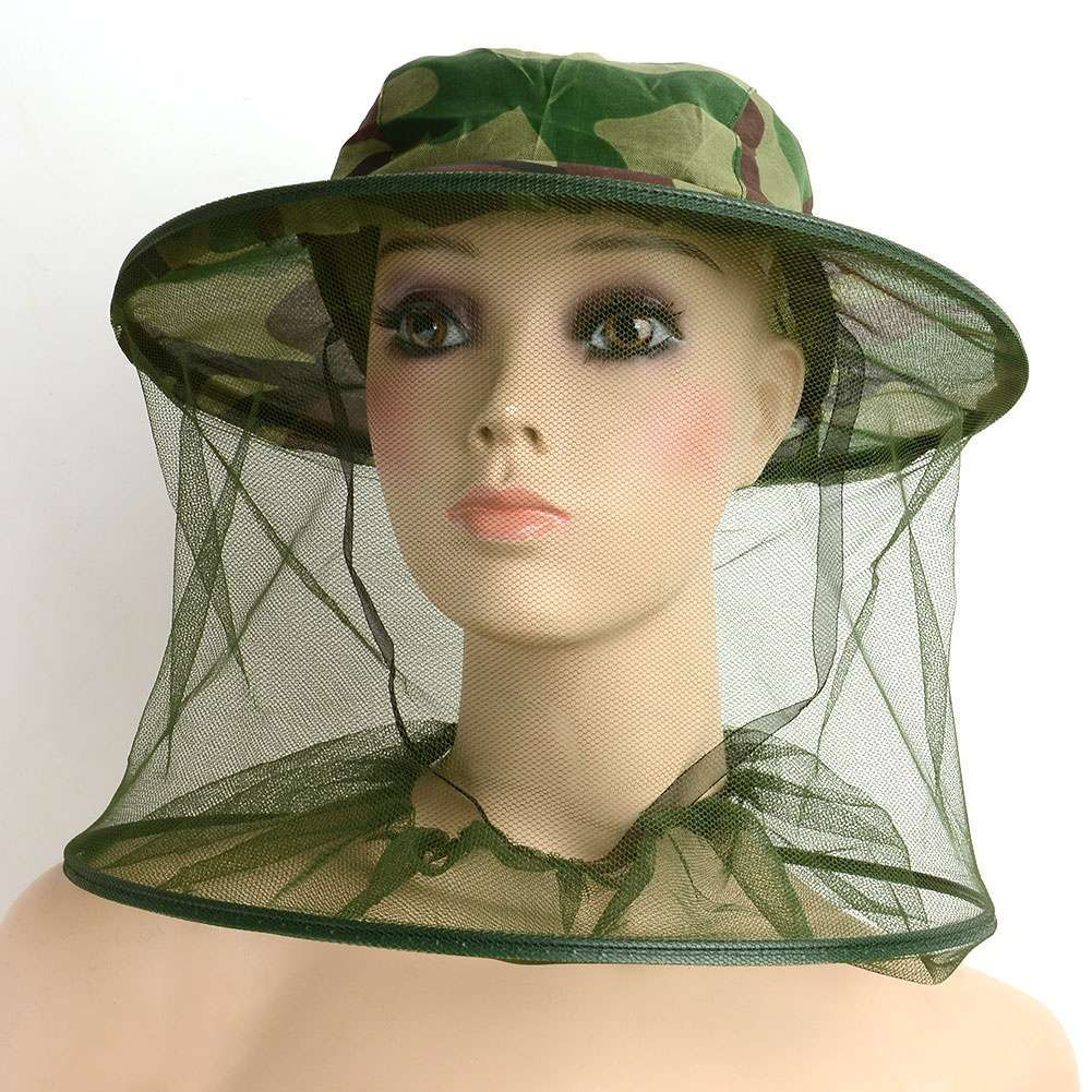 Insect Mosquito Net Mesh Face Fishing Hunting Outdoor Camping Hat Protector Cap-1