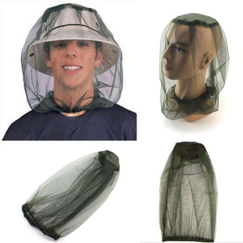 Insect Mosquito Net Mesh Face Fishing Hunting Outdoor Camping Hat Protector Cap-7