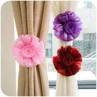 H2SA-1 Pair Clip-on Rose Flower Curtain Tie Backs Tieback Holder Voile Drape Panel