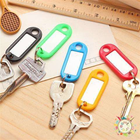 New 30 Coloured Plastic Key Fobs Luggage ID Tags Labels Key rings with Name Cards