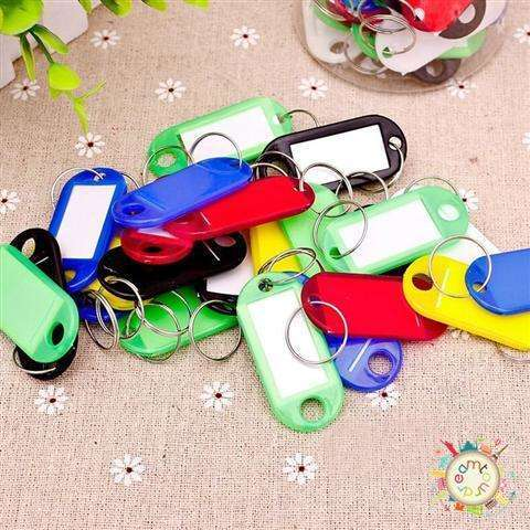 New 30 Coloured Plastic Key Fobs Luggage ID Tags Labels Key rings with Name Cards-2