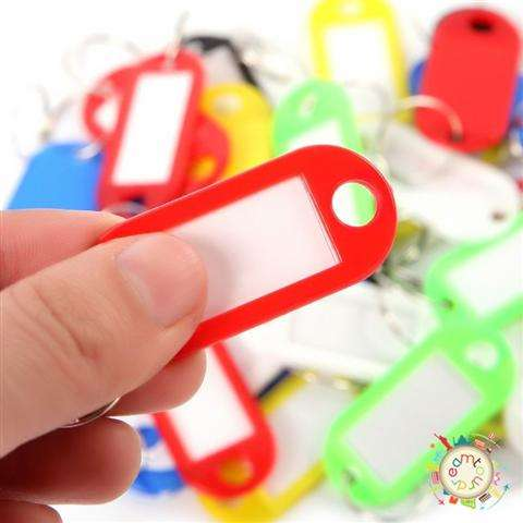 New 30 Coloured Plastic Key Fobs Luggage ID Tags Labels Key rings with Name Cards-3