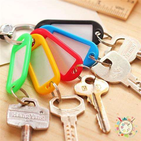 New 30 Coloured Plastic Key Fobs Luggage ID Tags Labels Key rings with Name Cards-5