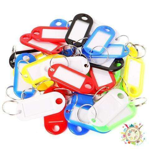 New 30 Coloured Plastic Key Fobs Luggage ID Tags Labels Key rings with Name Cards-6