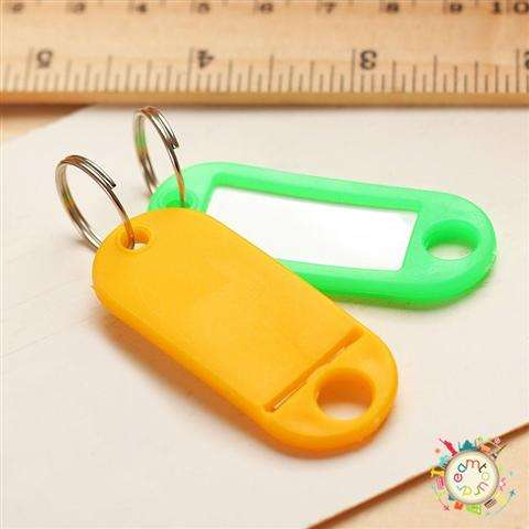 New 30 Coloured Plastic Key Fobs Luggage ID Tags Labels Key rings with Name Cards-8