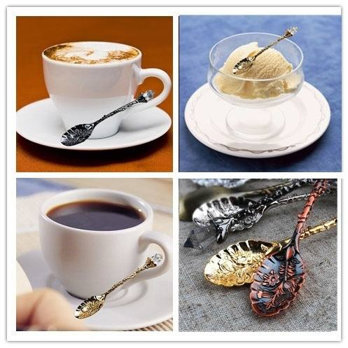 5 pcs European family kitchen retro ornate carved Coffee small spoon-2