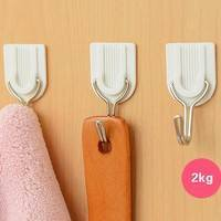 HU6f-6 X  Adhesive Hook Wall Door Sticky Hanger Kitchen Bathroom Restroom