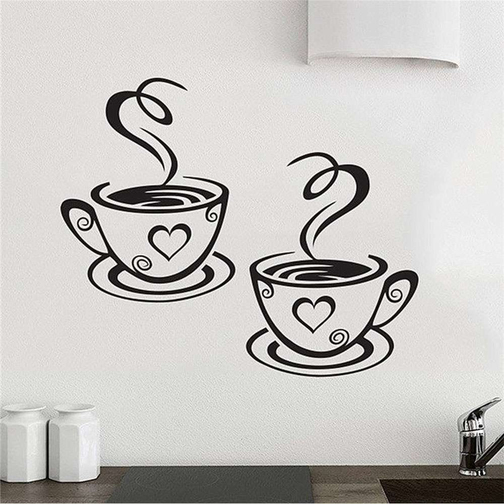 Mural Beautiful Design Decal Kitchen Restaurant Cafe Tea Wall Stickers Art Vinyl Coffee Cups Stickers Wall Decor