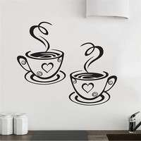 Hb1S-Mural Beautiful Design Decal Kitchen Restaurant Cafe Tea Wall Stickers Art Vinyl Coffee Cups Stickers Wall Decor