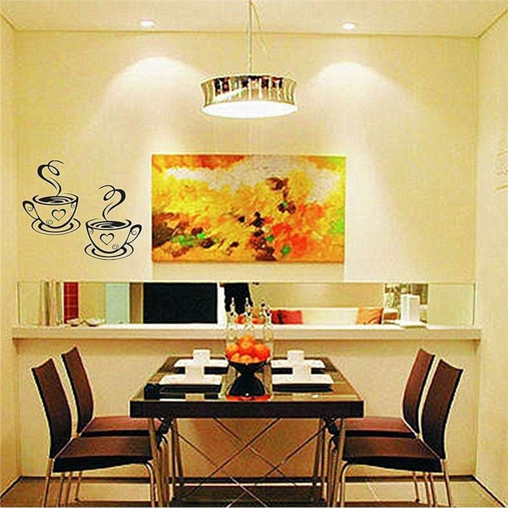 Mural Beautiful Design Decal Kitchen Restaurant Cafe Tea Wall Stickers Art Vinyl Coffee Cups Stickers Wall Decor-1