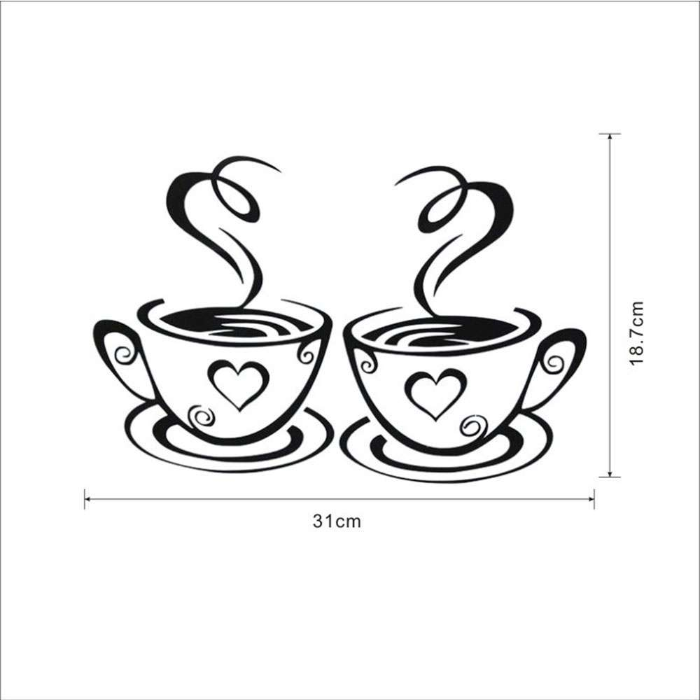 Mural Beautiful Design Decal Kitchen Restaurant Cafe Tea Wall Stickers Art Vinyl Coffee Cups Stickers Wall Decor-2