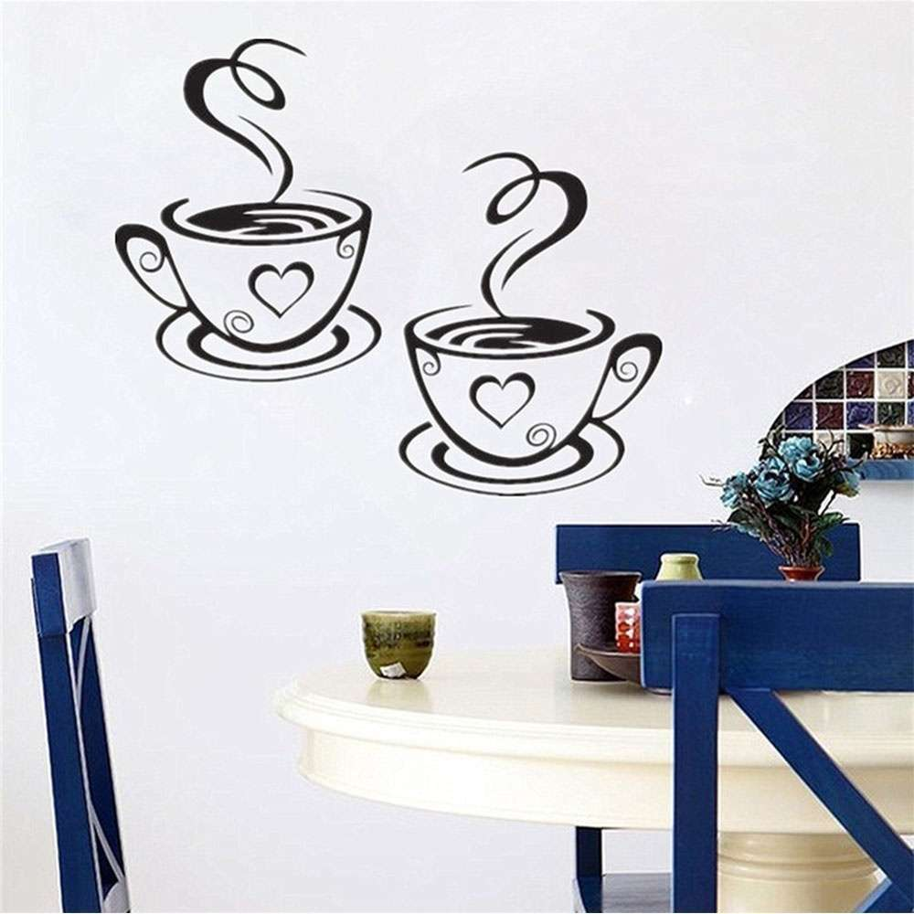 Mural Beautiful Design Decal Kitchen Restaurant Cafe Tea Wall Stickers Art Vinyl Coffee Cups Stickers Wall Decor-4