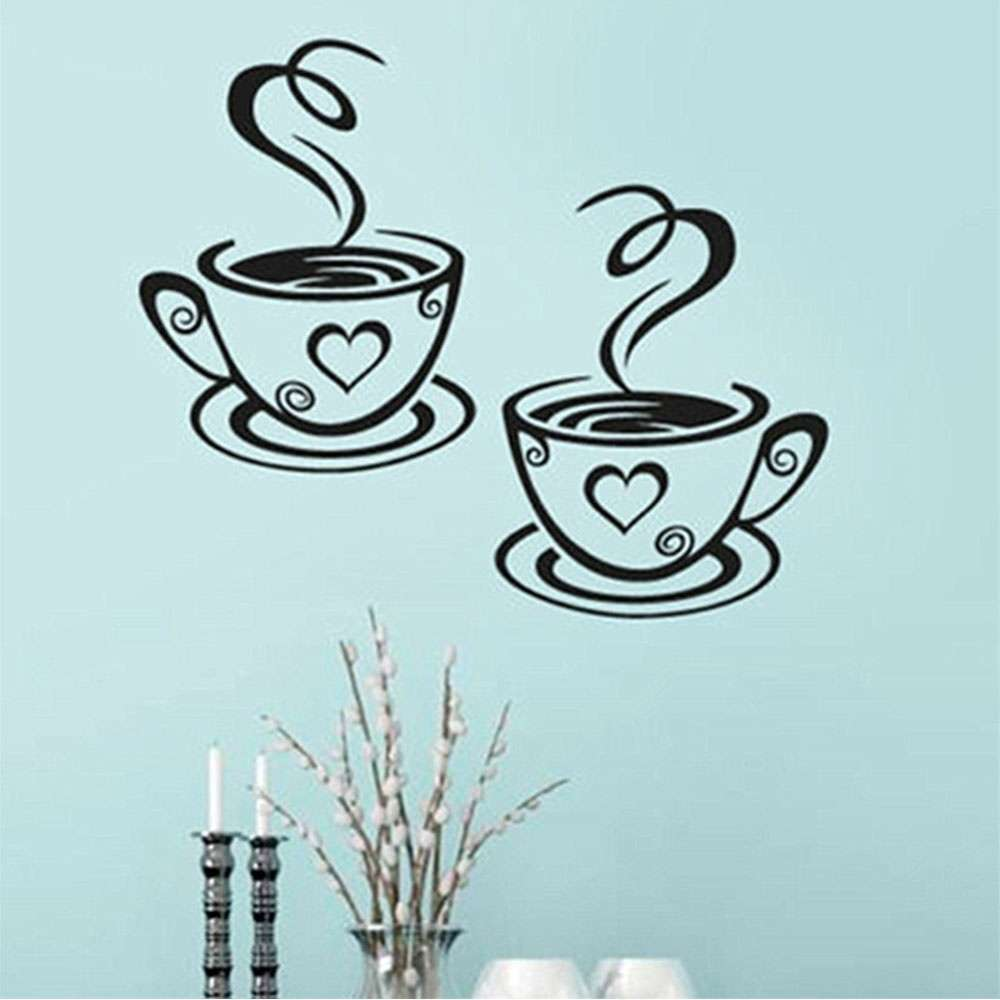 Mural Beautiful Design Decal Kitchen Restaurant Cafe Tea Wall Stickers Art Vinyl Coffee Cups Stickers Wall Decor-5