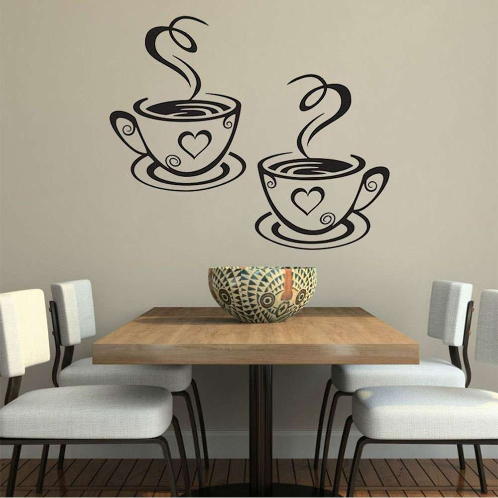 Mural Beautiful Design Decal Kitchen Restaurant Cafe Tea Wall Stickers Art Vinyl Coffee Cups Stickers Wall Decor-6