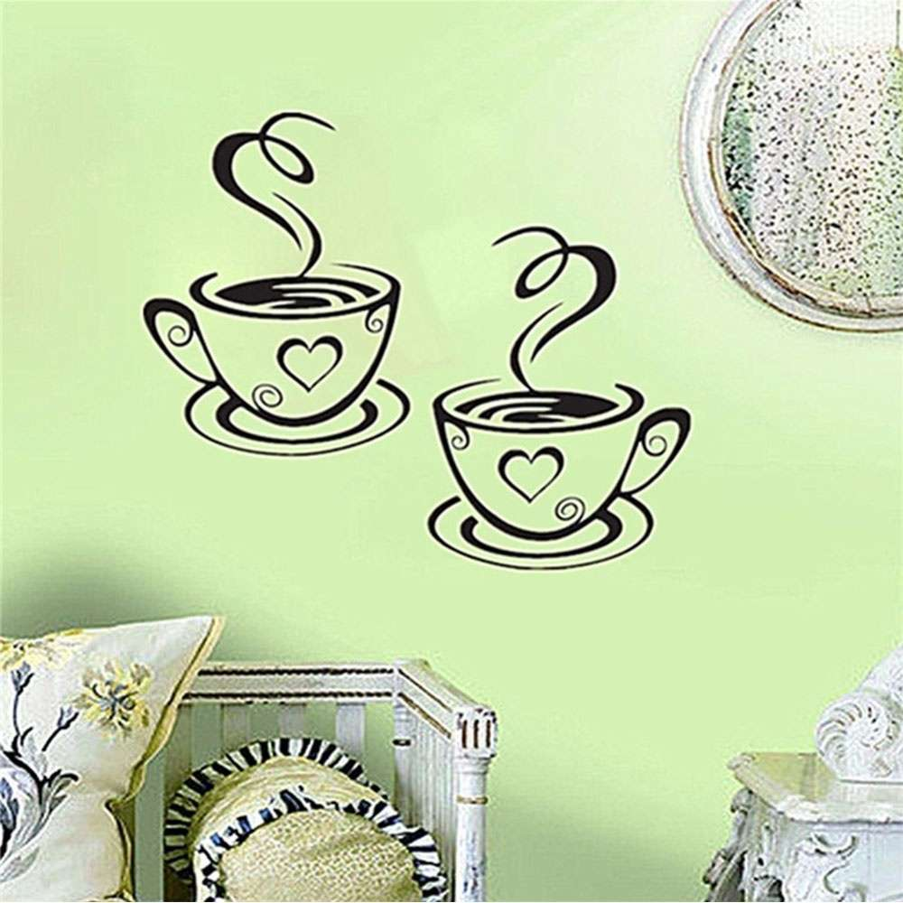 Mural Beautiful Design Decal Kitchen Restaurant Cafe Tea Wall Stickers Art Vinyl Coffee Cups Stickers Wall Decor-8