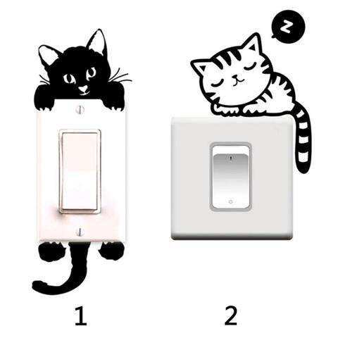 Cartoon Sleeping Cat Switch Sticker Room Window Wall Decorating Switch Vinyl Decal PVC Sticker Decor