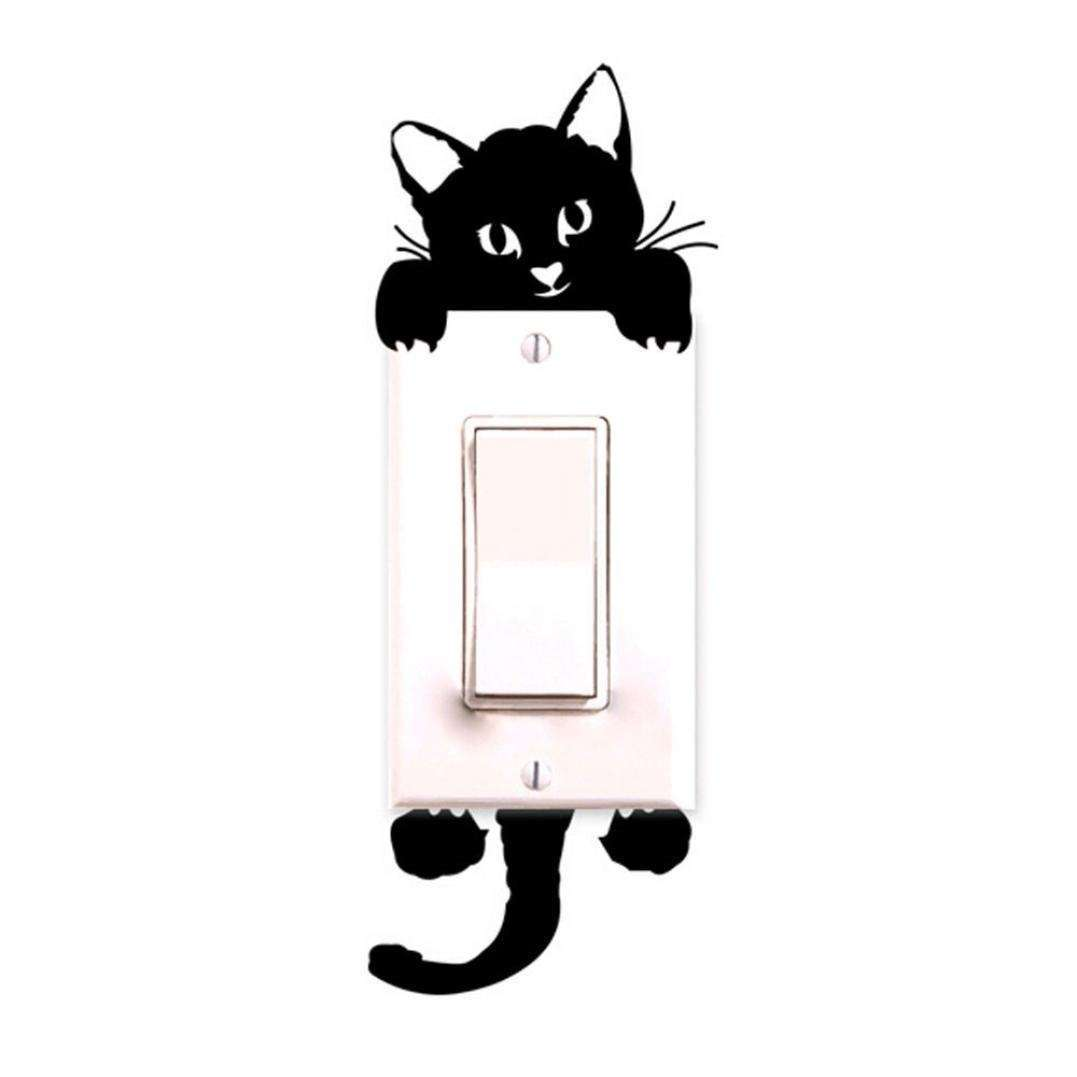 Cartoon Sleeping Cat Switch Sticker Room Window Wall Decorating Switch Vinyl Decal PVC Sticker Decor-3
