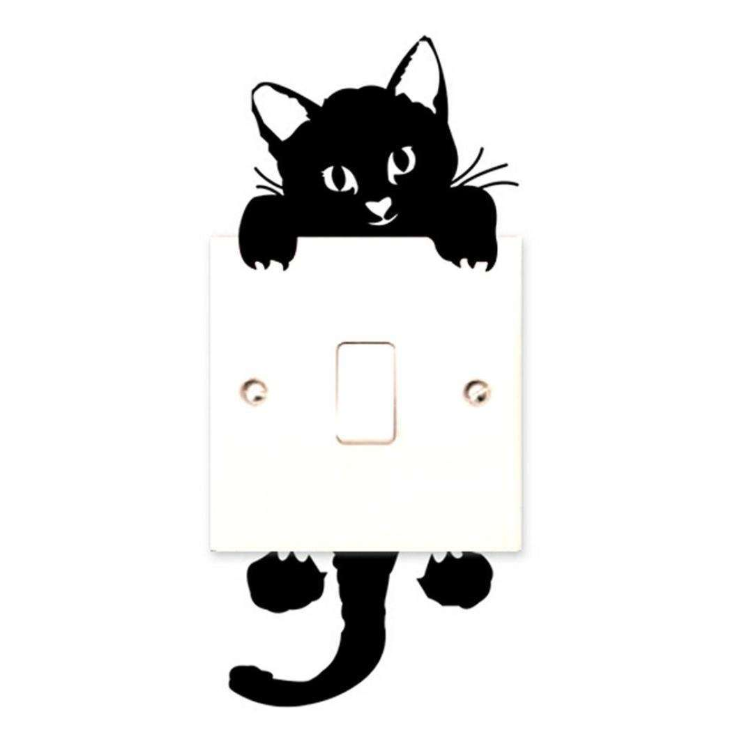 Cartoon Sleeping Cat Switch Sticker Room Window Wall Decorating Switch Vinyl Decal PVC Sticker Decor-4