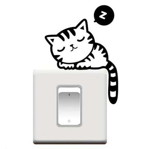 Cartoon Sleeping Cat Switch Sticker Room Window Wall Decorating Switch Vinyl Decal PVC Sticker Decor-5