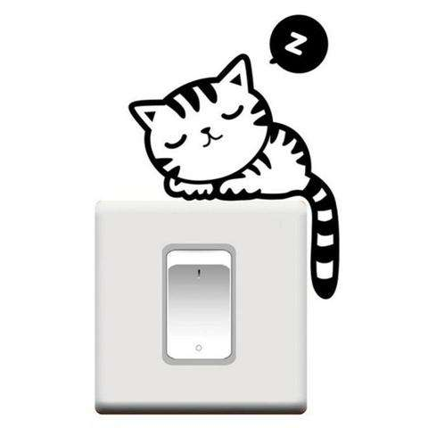 Cartoon Sleeping Cat Switch Sticker Room Window Wall Decorating Switch Vinyl Decal PVC Sticker Decor-6