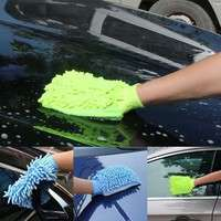 Hq23-High Quality Microfiber Car Wash Cleaning Gloves Sided Chenille Gloves Cleaning Towel