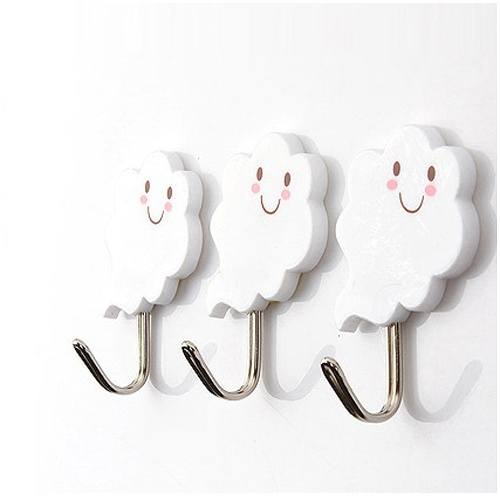 3 Pcs set 2kg Cute Plastic Hook White Cloud Wall Door Hangers for Clothes Hats Bag