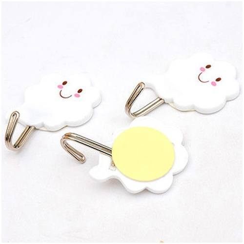 3 Pcs set 2kg Cute Plastic Hook White Cloud Wall Door Hangers for Clothes Hats Bag-2